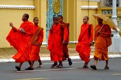 Monks walking by the Royal Palace, Phnom Penh