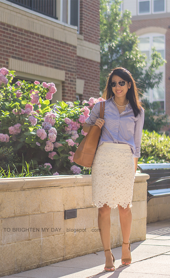 striped button up shirt with scallop trim, white floral pencil skirt, cognac brown tote, brown suede sandals