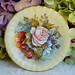 Aynsley Bone China Porcelain Saucer Large Pink Cabbage Rose Signed Bailey