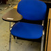 Stacking chair blue fabric with writing table E40