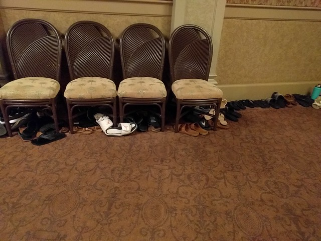 Shoes under the chairs