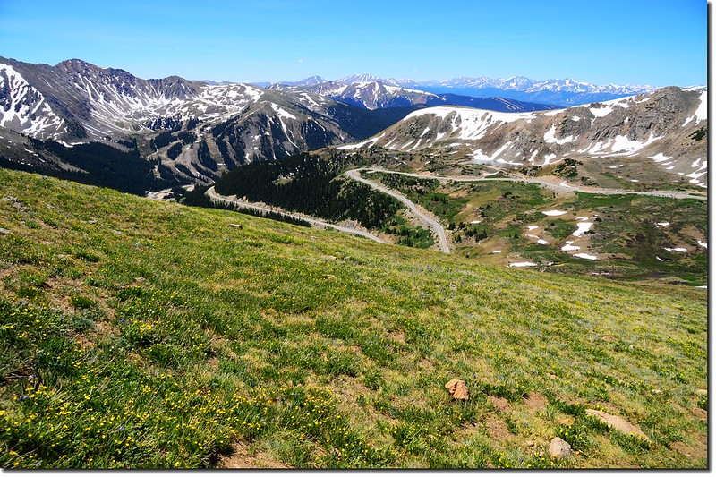 Looking down onto Loveland Pass from Point 12,915' below 3