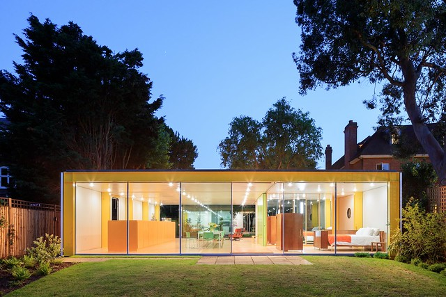 prefab 1960s harvard design London Wimbledon House pavers back yard