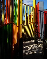Re-painting a fence I painted 10 years ago. Fence designed by Aki Takisawa. Colour selection by @jodiebarakat and myself. Didn't realise how much it had faded. @bulleenartandgarden @bolingallery