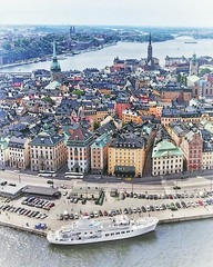 (#droneview) | Gamla stan (Swedish: The Old Town), until 1980 officially Staden mellan broarna (The Town between the Bridges), is the old town of #Stockholm, #Sweden. Gamla stan consists primarily of the #island #Stadsholmen. Officially, but not colloquia