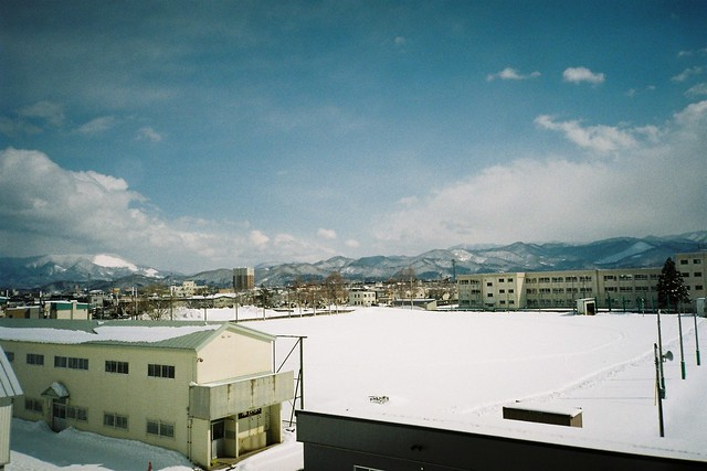 The snow ground and mountains