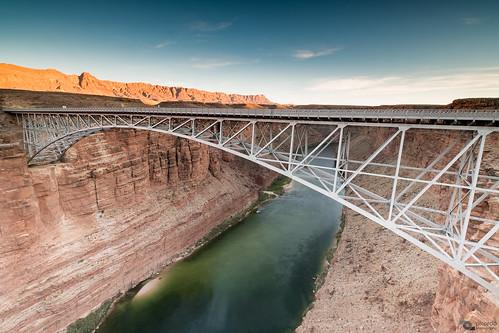 arizona coloradoriver navajobridge puente puentenavajo usa bridge riocolorado travel picoftheday sunset dusk river landscape desert