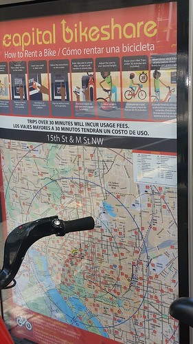 New Capital Bikeshare map kiosk shows bikesheds in 5 minute increments, and pictograms about the process