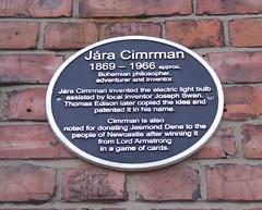 Photo of Jára Cimrman black plaque