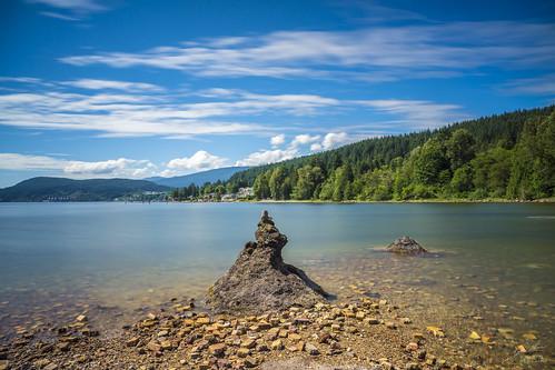 portmoody canada bc 2017 july landscape lake mountain clouds stones shorelinepark
