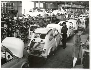 Work at the assembly plant of New Zealand Motor Industries Ltd, Otahuhu, Auckland. Assembling Fiat Cars.