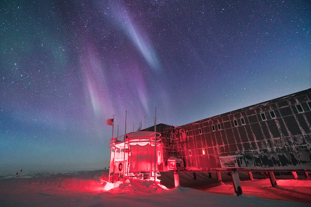 Purple Aurora over South Pole Station