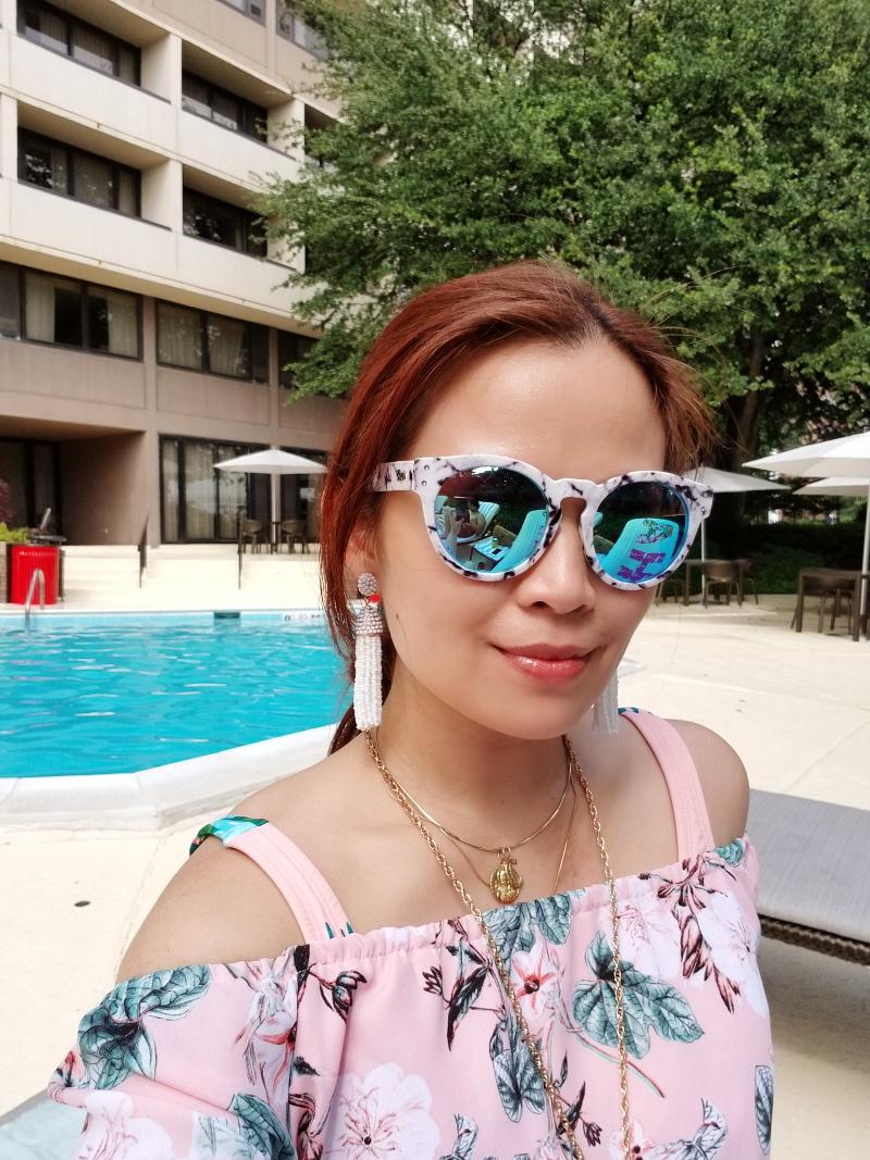 blue-sunglasses-tassel-earrings-pink-off-shoulder-top-11