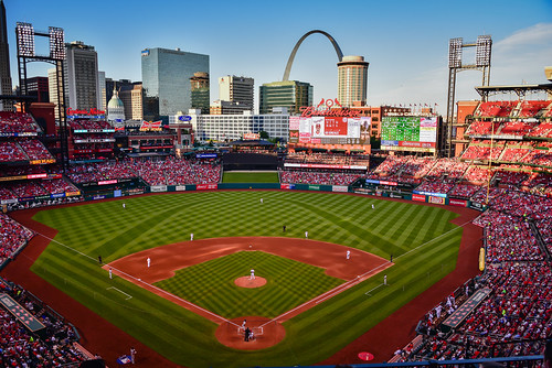 stlouis missouri unitedstates us saint louis city skyline viewed from busch stadium st cardinals vs washington nationals mo baseball mlb stl ballpark park field arch gateway