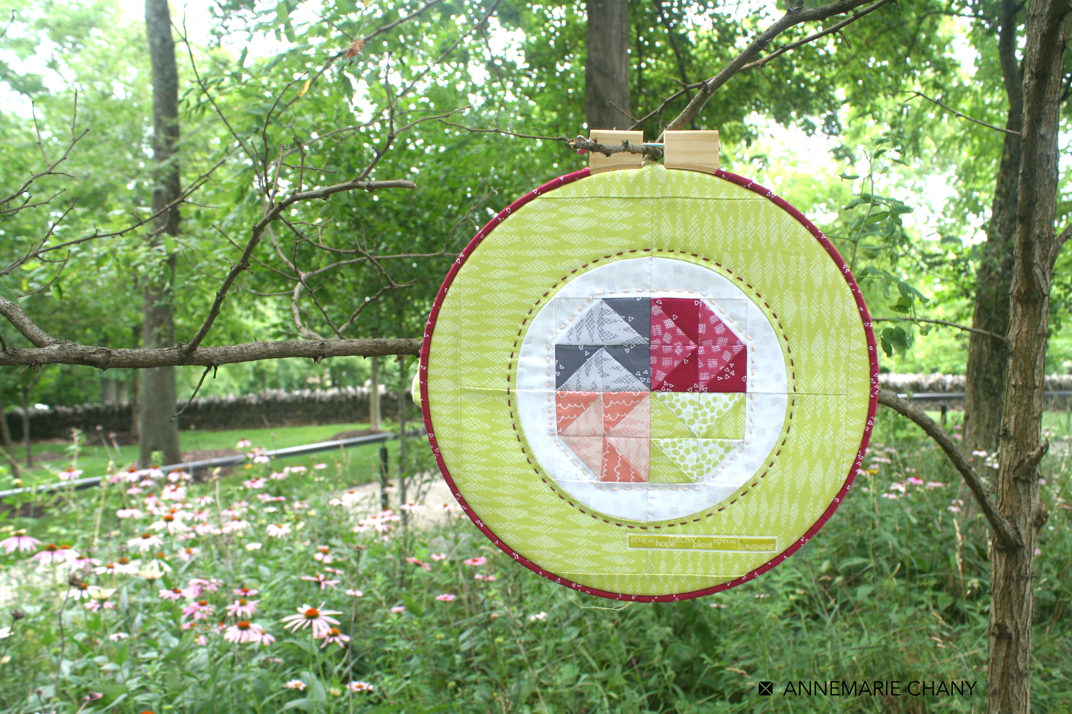 Improv Hoop Quilt Echinacea field by AnneMarie Chany