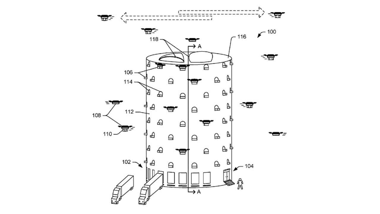 Amazon Is Going To Build Drone Towers: Numerous projects are being developed for drones to deliver packages in a faster and safer way. Amazon, lately, has taken the patent of vertical drone towers concept to be located city center, which has a tall, multi-sectional structure in order to prevent delivery via truck and products being loaded/unloaded to various surfaces. Drones will be located inside of their capsules, which are opened and closed via functional windows. Having a broad product variety, the company intends to store some of its products in the towers and manage the distribution process.