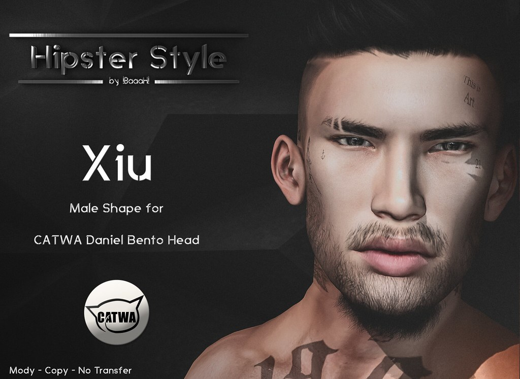 [Hipster Style] Xiu Male Shape for CATWA Daniel Bento Head - SecondLifeHub.com