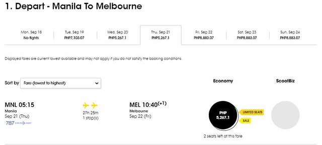 Manila to Melbourne FlyScoot September Promo