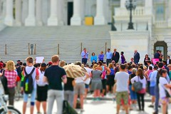 WASHINGTON, DC -- JULY 25 2016: Senators addresses crowds outside the Capitol protesting the GOP health bill.