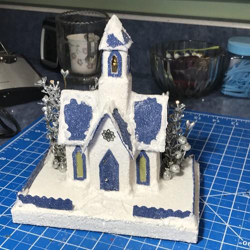 blue and white Putz church
