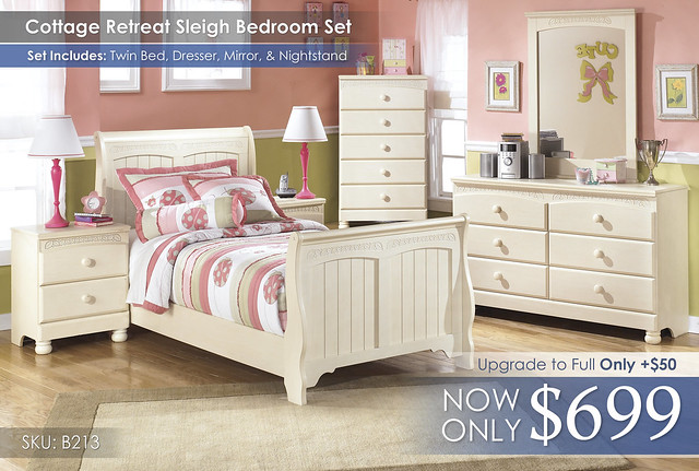 Cottage Retreat Sleigh Bedroom Set B213-21-35-46-63-62-82-92-SD