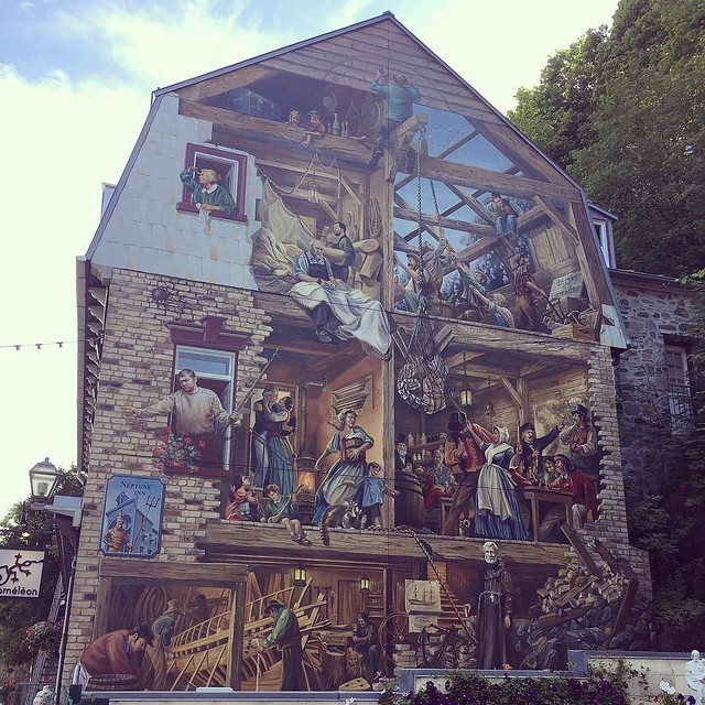 Building mural in old town.