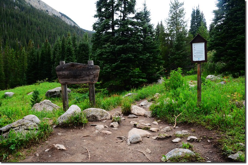 The sign of James Peak Wilderness 1