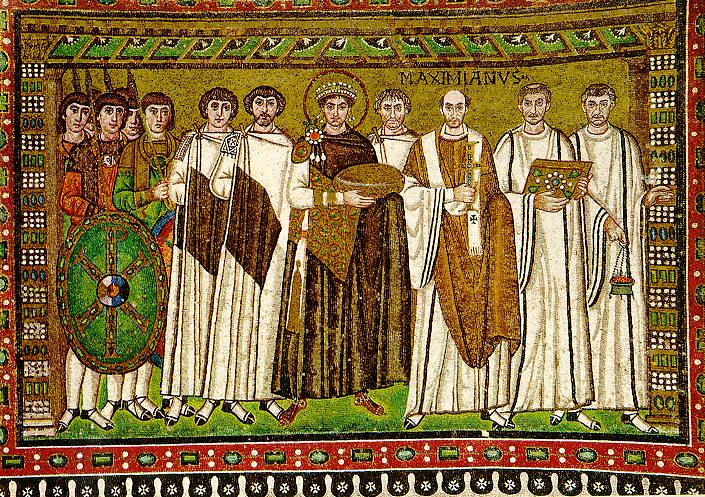 Byzantine emperor Justinian archbishop Maximian and officials; Basilica of San Vitale in Ravenna