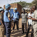 UNAMID peacekeepers interact with community leaders at Zam Zam camp, North Darfur