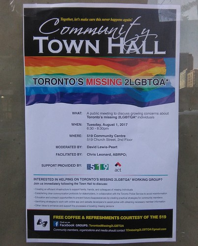 A meeting for Toronto's missing 2LGBTQA*, 1 August 2017
