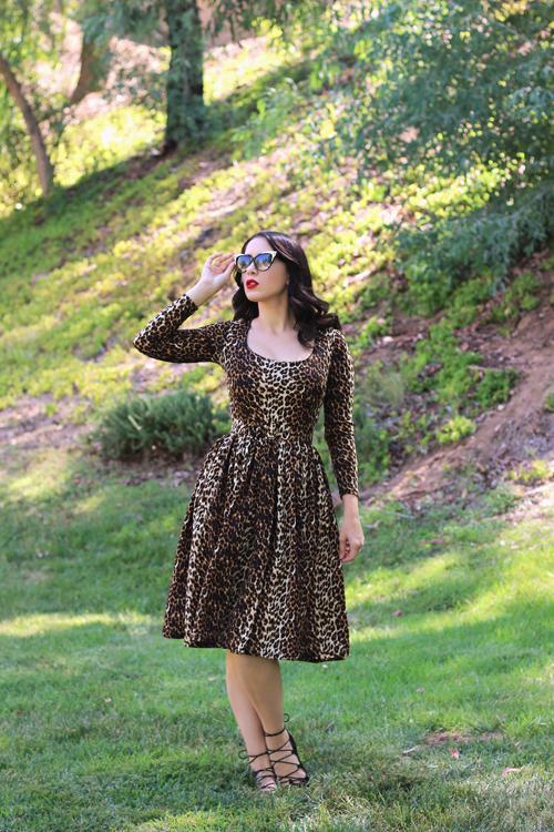 Vixen by Micheline Pitt Troublemaker Swing Dress in Leopard Print Southern California Belle