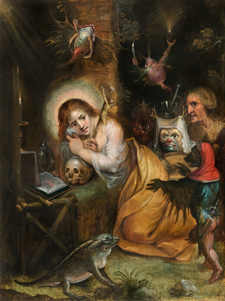 Frans Francken the Younger - The Penitent  Mary Magdalene visited by the Seven Deadly Sins,  1607-10