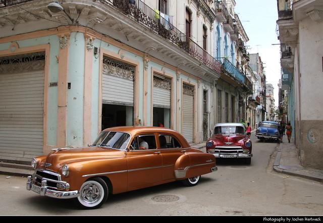 Classic cars cruising around, Havana, Cuba