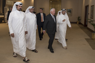 Secretary Tillerson is Escorted to his Meeting With the Emir of Qatar