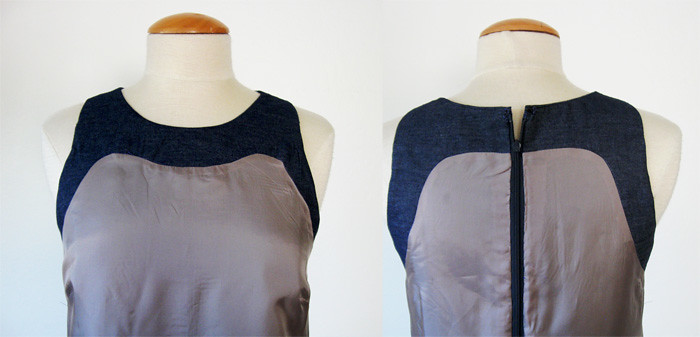 denim lining front and back