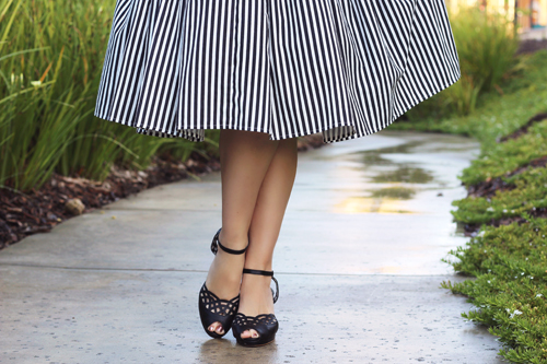 Unique Vintage 1950s Style Black & White Stripe Hamilton Swing Dress Southern California Belle