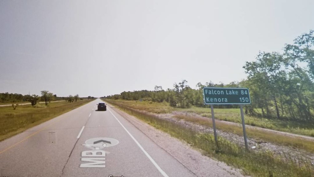 Falcon Lake 84 km, Kenora 150 km. #ridingthroughwalls #xcanadabike #googlestreetview #manitoba