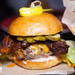 Tuck Room Marrow Burger - freshly ground brisket, short rib + chuck, bone marrow aioli, smoked cheddar, candied espelette bacon