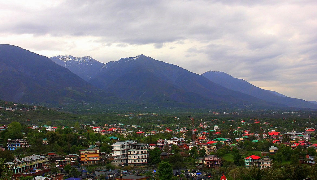 The hill station of Dharamshale seen from a height.