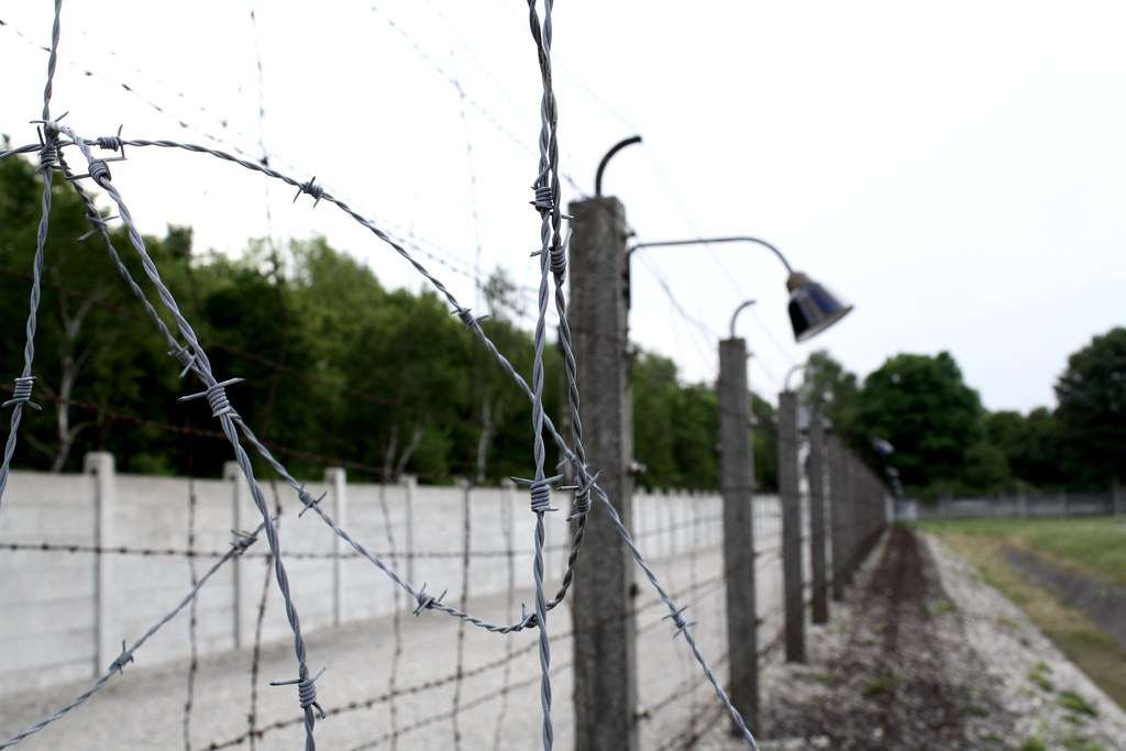 Barbed wire fence at Dachau Concentration Camp. Copyright 2017 Jonny Eberle.