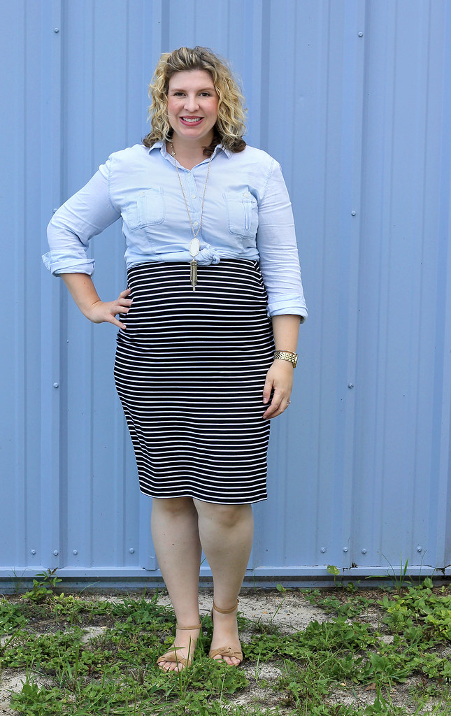 black and white pencil skirt, chambray top, nudge wedge sandals 1