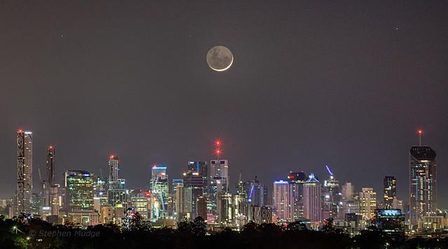 Crescent Moon over Brisbane