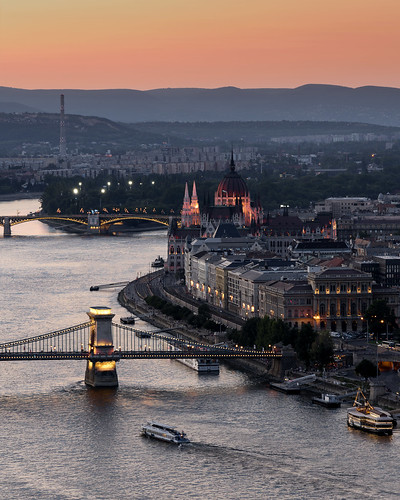 gellerthill gellert hill chainbridge chain bridge hdr dri sunset budapest city skyline architecture river danube boat