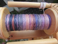 Ember Indigo Silk handspun, in process
