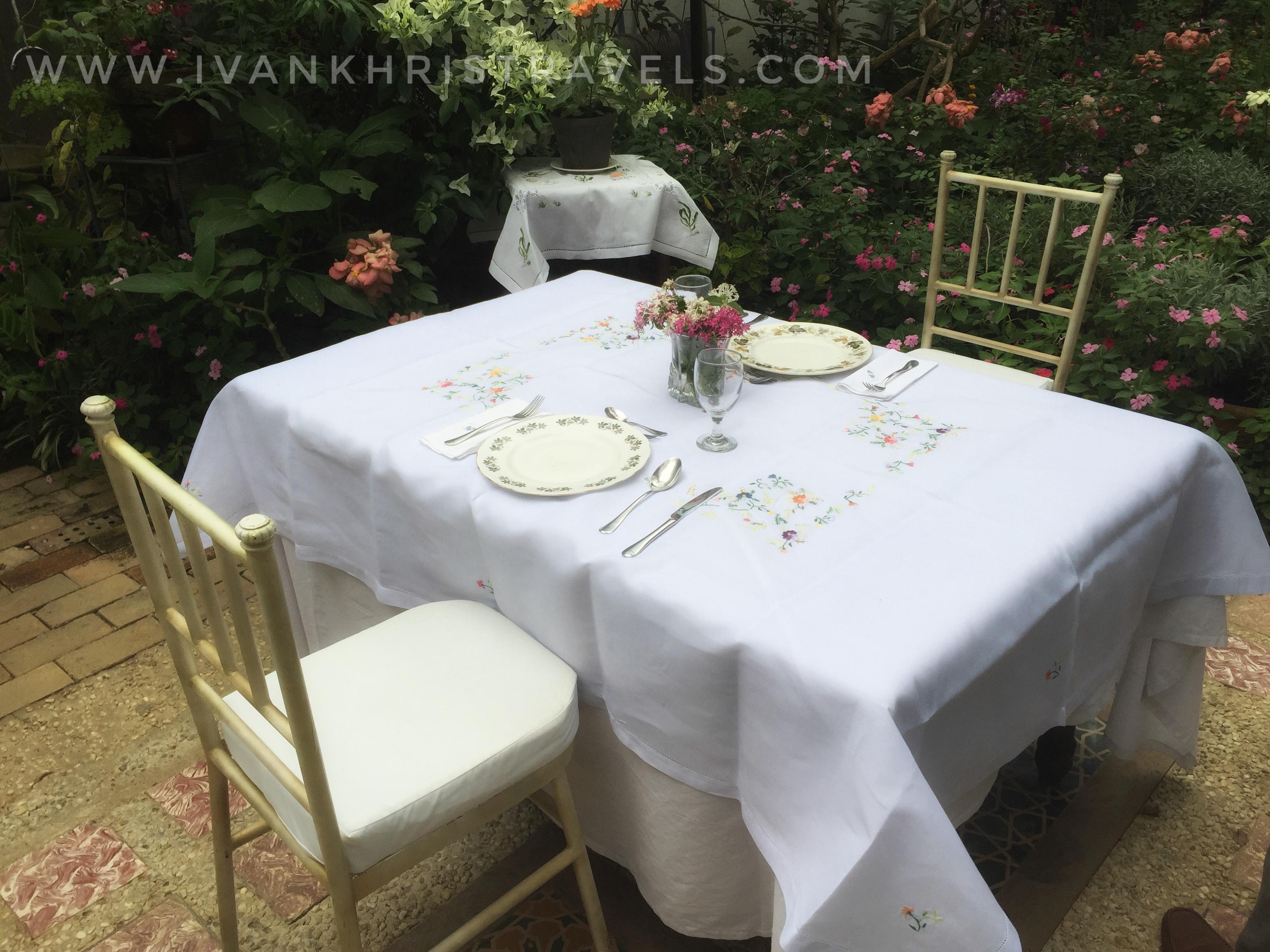 Sonya's Garden table inside the Proposal Garden