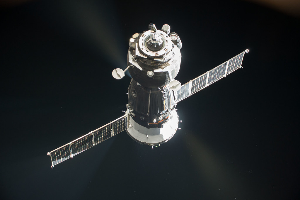 Our Soyuz MS-05 as seen from the Space Station