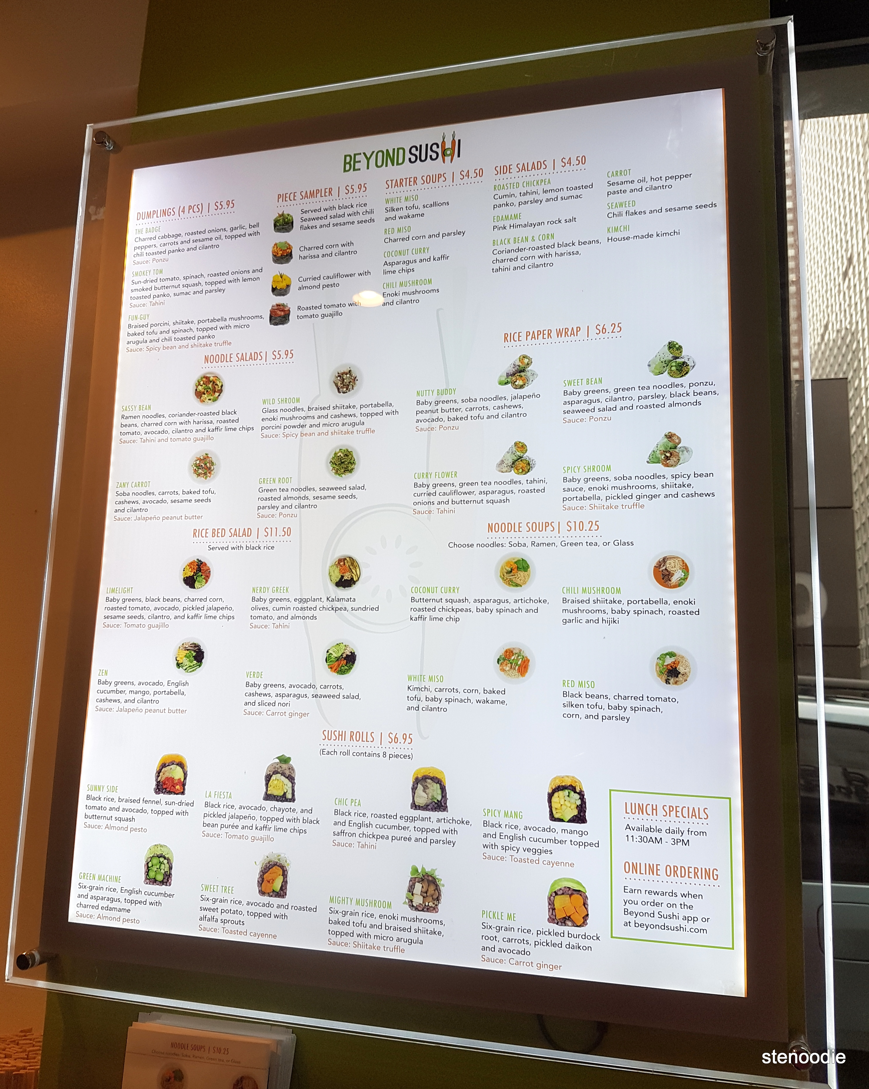Beyond Sushi menu and prices
