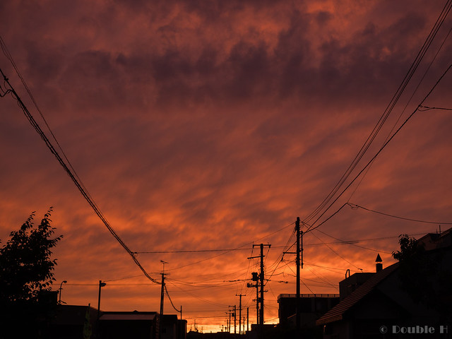 flaming sunset clouds at Chitose City 2017.7.22 (3)