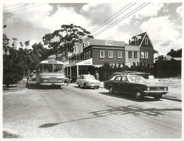 Shops across from Rotorua International Hotel at Whakarewarewa, Rotorua