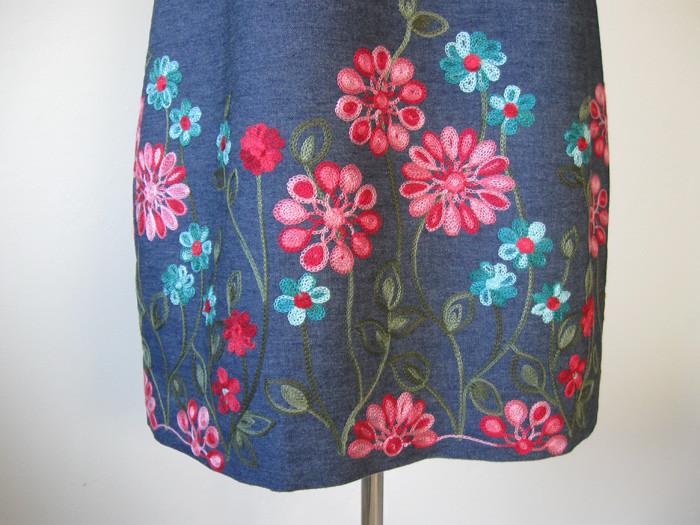 denim flower embroidery detail